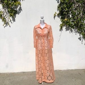 60s Vintage Peach Floral Duster Jacket